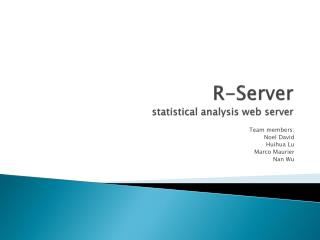 R-Server statistical analysis web server