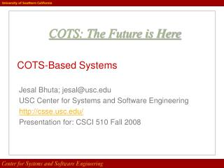 COTS-Based Systems