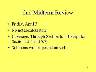 2nd Midterm Review