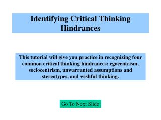 Identifying Critical Thinking Hindrances
