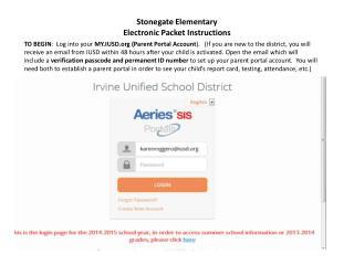 Stonegate Elementary Electronic Packet Instructions