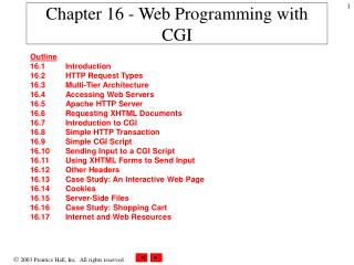 Chapter 16 - Web Programming with CGI