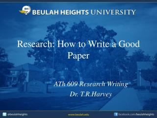 Research: How to Write a Good Paper
