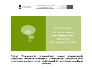 Projekt innowacyjny nr  POKL.06.01.01-10-004/11 Wyższa Szkoła Zawodowa  Kadry dla Europy