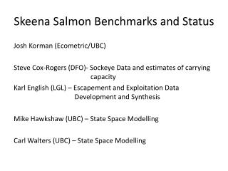 Skeena Salmon Benchmarks and Status