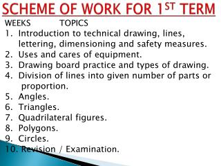SCHEME OF WORK FOR 1 ST  TERM