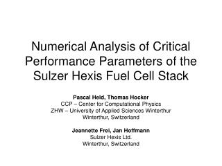 Numerical Analysis of Critical Performance Parameters of the Sulzer Hexis Fuel Cell Stack