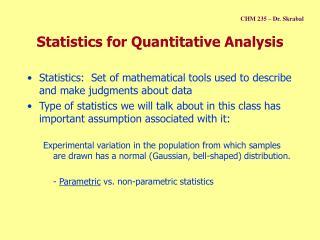 Statistics for Quantitative Analysis