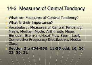 14-2  Measures of Central Tendency