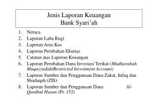 Jenis Laporan Keuangan Bank Syari'ah