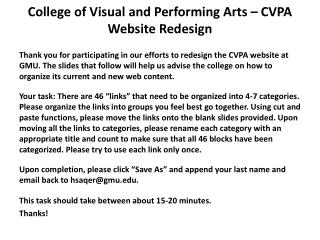 College of Visual and Performing Arts � CVPA Website Redesign