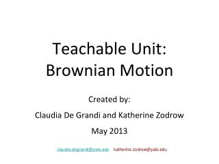 Teachable Unit: Brownian Motion