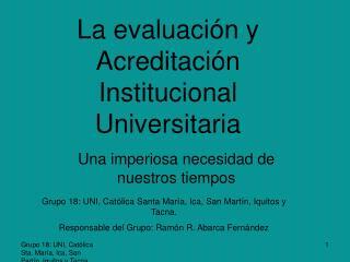 La evaluación y Acreditación Institucional Universitaria