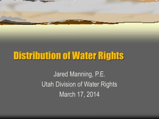Distribution of Water Rights
