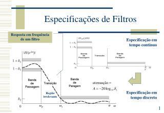 Especificações de Filtros