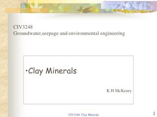 CIV3248 Groundwater,seepage and environmental engineering