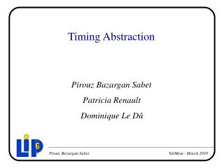 Timing Abstraction