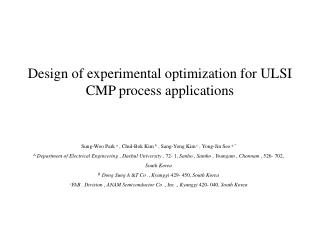 Design of experimental optimization for ULSI CMP process applications