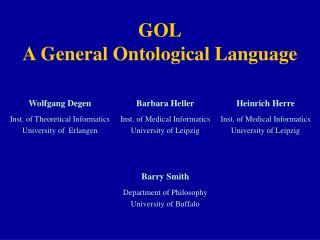 GOL A General Ontological Language