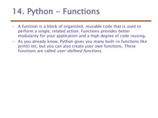 14. Python - Functions