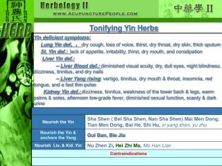 Tonifying Yin Herbs
