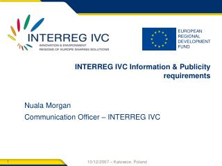 INTERREG IVC Information & Publicity requirements