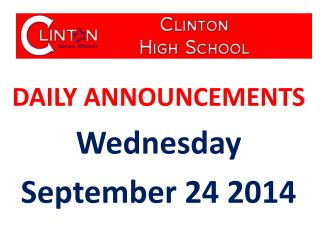 DAILY ANNOUNCEMENTS Wednesday September 24 2014