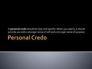 Personal Credo