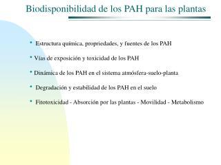 Biodisponibilidad de los PAH para las plantas