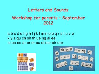 Letters and Sounds Workshop for parents – September 2012