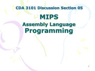 MIPS  Assembly Language  Programming