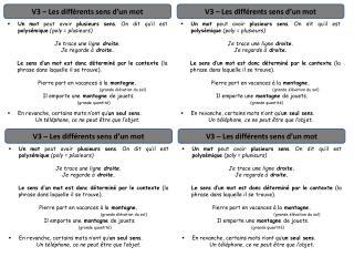 V3 – Les différents sens d'un mot