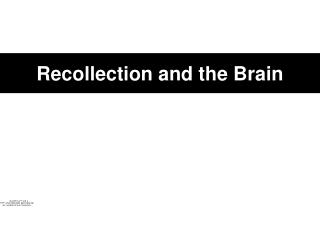 Recollection and the Brain