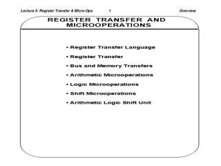 Lecture 5: Register Transfer & Micro-Ops