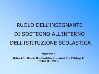 RUOLO DELL'INSEGNANTE  DI SOSTEGNO ALL'INTERNO  DELL'ISTITUZIONE SCOLASTICA