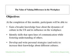 The Value of Valuing Differences in the Workplace