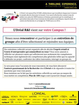L'Oréal R&I  vient sur votre Campus !
