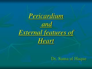Pericardium  and External features of  Heart