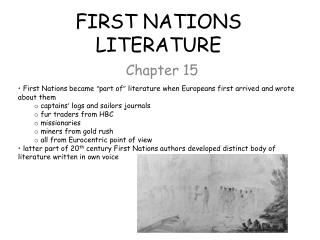 FIRST NATIONS LITERATURE
