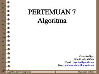 PERTEMUAN  7 Algoritma