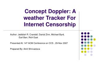 Concept Doppler: A weather Tracker For Internet Censorship