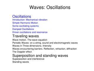 Waves: Oscillations