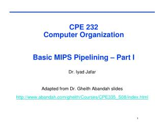 CPE 232  Computer Organization  Basic MIPS Pipelining – Part I