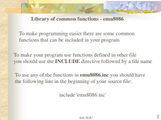 Library of common functions - emu8086