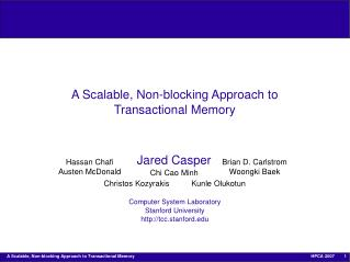 A Scalable, Non-blocking Approach to Transactional Memory