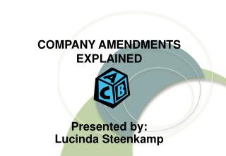 COMPANY AMENDMENTS EXPLAINED Presented by: Lucinda Steenkamp