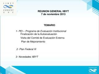 TEMARIO  1- PEI – Programa de Evaluación Institucional        Finalización de la Autoevaluación