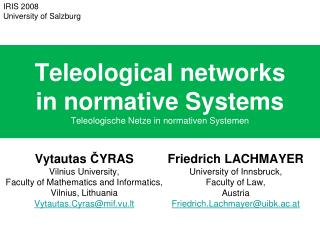 Teleological networks in normative Systems Teleologische Netze in normativen Systemen