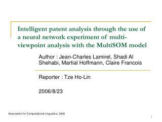 Author : Jean-Charles Lamirel, Shadi Al Shehabi, Martial Hoffmann, Claire Francois