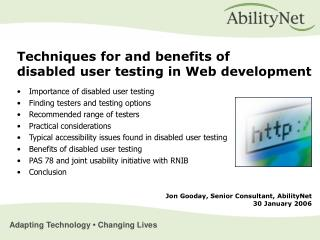 Importance of disabled user testing Finding testers and testing options